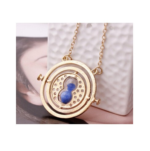 Jewellery plated time turner necklace hourglass vintage pendant Hermione Granger for women lady girl golden blue 40cm
