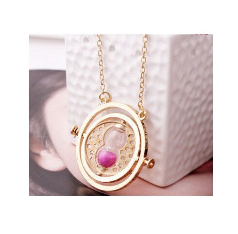 Jewellery plated time turner necklace hourglass vintage pendant Hermione Granger for women lady girl golden pink 40cm
