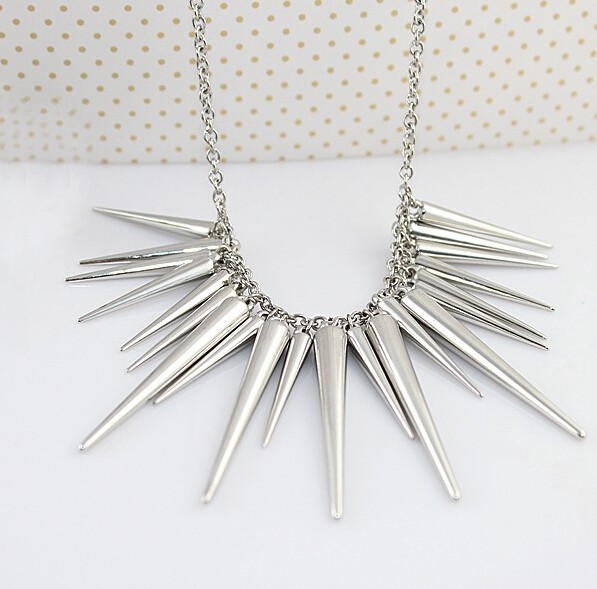 Pendant Necklace Gold Color Chain Spike Maxi Statement Necklaces & Pendants For Women Jewellery silver 45cm