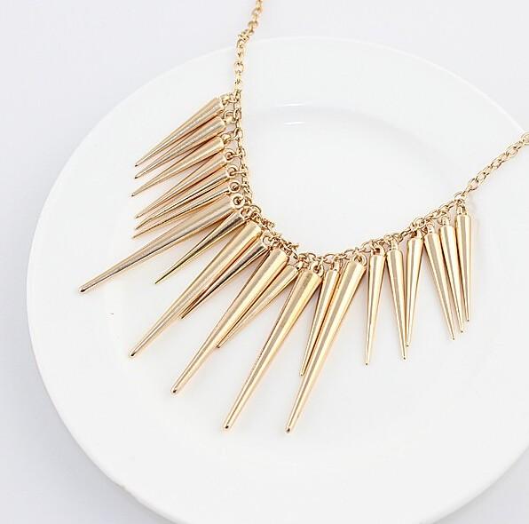Pendant Necklace Gold Color Chain Spike Maxi Statement Necklaces & Pendants For Women Jewellery gold 45cm