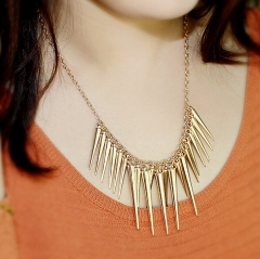 Pendant Necklace Gold Color Chain Spike Maxi Statement Necklaces & Pendants For Women Jewellery gold necklace*6
