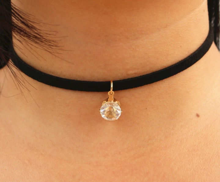 Choker Necklaces Women Black Velvet Suede Leather Chain Short Collares Zircon Fashion Jewelry Gothic gold one size