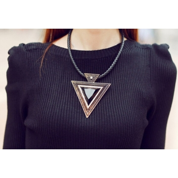 New Pendant Necklace Fashion Chokers Statement Necklaces Triangle Pendants Rope Chain for Gift Party gold 45cm