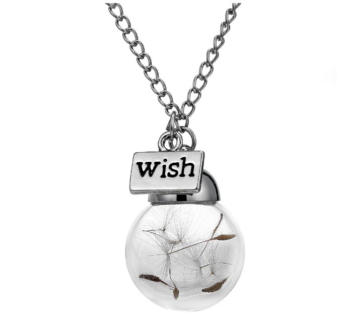 IFeel Natural dandelion seed in glass long necklace Make Wish Glass Bead Orb silver plated Necklace silver one size