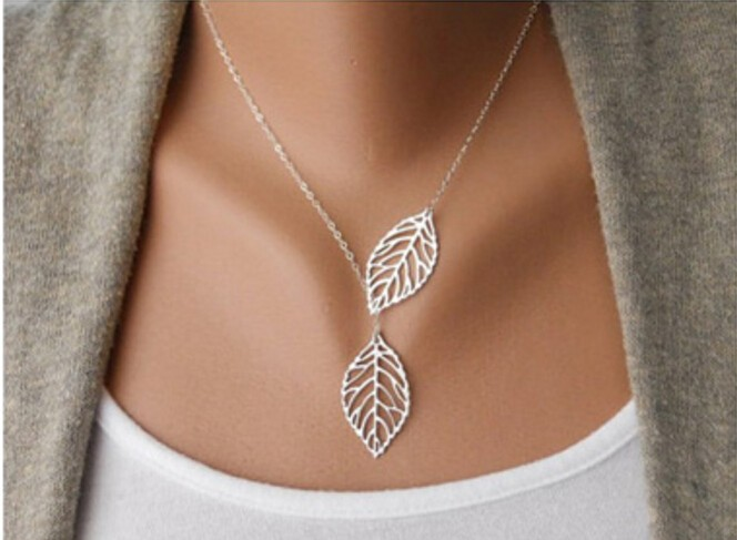 IFeel New Gold And Sliver 2 Leaf Pendants Necklace Chain multi layer statement necklaces Woman Gift silver 45cm