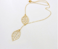 IFeel New Gold And Sliver 2 Leaf Pendants Necklace Chain multi layer statement necklaces Woman Gift gold necklace*10