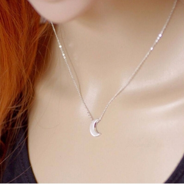 2017 Minimalist Crescent Moon Silver Gold Long Necklace Women Jewelry Solid Chain Pendant Necklace silver 43