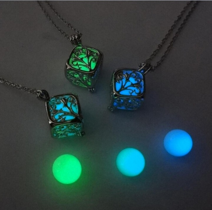 Necklaces Silver Color Chain Necklace Glowing in Dark Pendant Necklaces Collares Best Friend Jewelry green one size