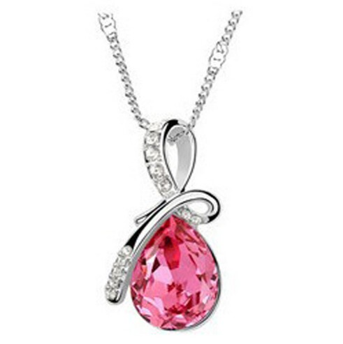 IFeel 10 Colors Crystal Necklace Pendants Silver Plated Necklace Women Fashion Jewelry Wholesale hot pink 50cm