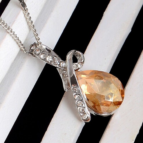 IFeel 10 Colors Crystal Necklace Pendants Silver Plated Necklace Women Fashion Jewelry Wholesale yellow 50cm