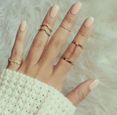IFeel New 6pcs/lot Shiny Punk style Gold plated Stacking rings Charm Leaf Ring Set for women Jewelry gold one size