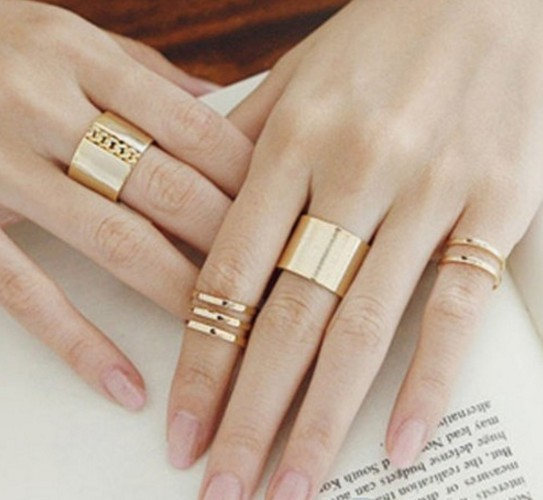 IFeel Jewelry 3Pcs/Set Fashion Top Of Finger Over The Midi Tip Finger Above The Knuckle Open Ring gold one size