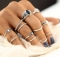 IFeel12pcs / sets Fashion Vintage Punk Midi Rings Set Antique  Boho Style Female Charms Jewelry Ring silver one size