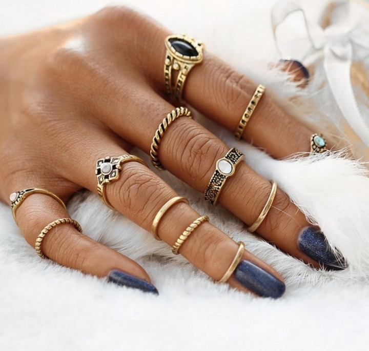 IFeel12pcs / sets Fashion Vintage Punk Midi Rings Set Antique  Boho Style Female Charms Jewelry Ring gold one size