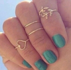 4pcs Rings Urban Gold Plated Crystal Plain Cute Above Knuckle Ring Band Midi Ring Set auger leaves gold rings*1