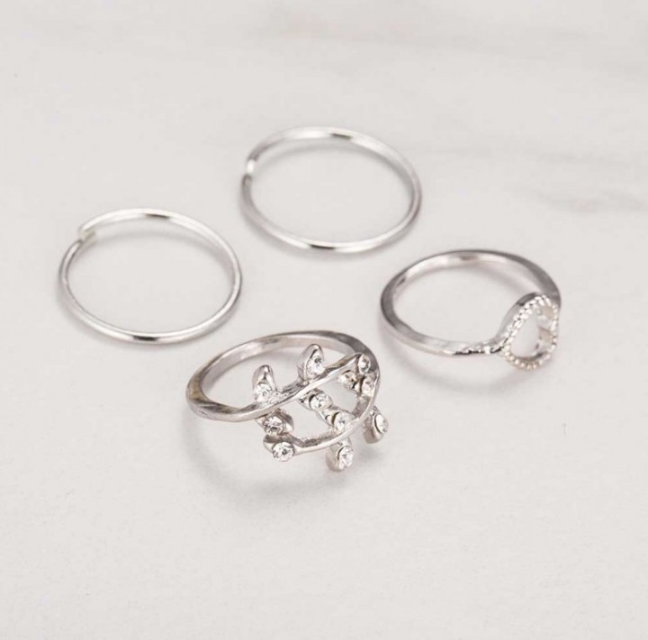 4pcs Rings Urban Gold Plated Crystal Plain Cute Above Knuckle Ring Band Midi Ring Set auger leaves silver one size