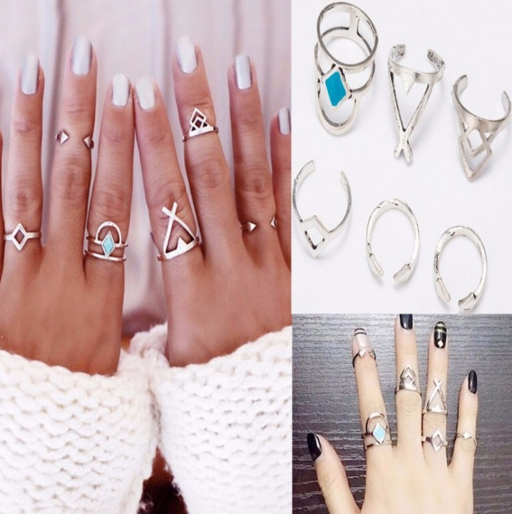 6pcs New Vintage Anti Silver Blue Turquoise Rings Lucky Stackable Midi Rings Set of Rings for Women silver one size