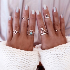 6pcs New Vintage Anti Silver Blue Turquoise Rings Lucky Stackable Midi Rings Set of Rings for Women gold one size