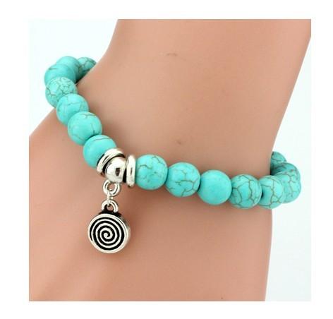 IFeel 2017Love Turquoise Charm Bracelet Femme Bohemian Vintage Bracelets & Bangles For Women Jewelry Round one size