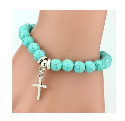 IFeel 2017Love Turquoise Charm Bracelet Femme Bohemian Vintage Bracelets & Bangles For Women Jewelry cross one size