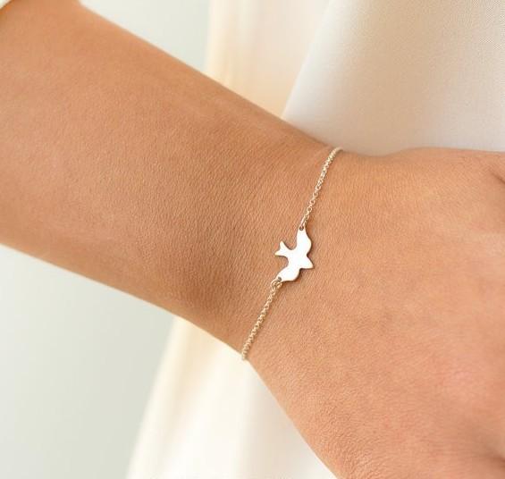 IFeel 2017 Jewelry hot Tiny Peace Dove Bracelet Birds Bracelet Little Cute Swallow Bird Bracelets silver Bracelet *1