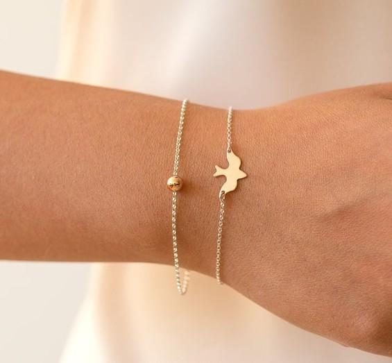 IFeel 2017 Jewelry hot Tiny Peace Dove Bracelet Birds Bracelet Little Cute Swallow Bird Bracelets gold Bracelet *1