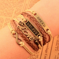 IFeel Charm Vintage Multilayer Charm Leather Bracelet Women Owl Cross Bracelets Cheap Statement Gift photo1 Bracelet *1