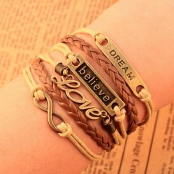 IFeel Charm Vintage Multilayer Charm Leather Bracelet Women Owl Cross Bracelets Cheap Statement Gift photo1 one size