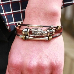 IFeel Tibetan silver men leather bracelet fashion male vintage parataxis dragon Multilayer jewelry brown one size