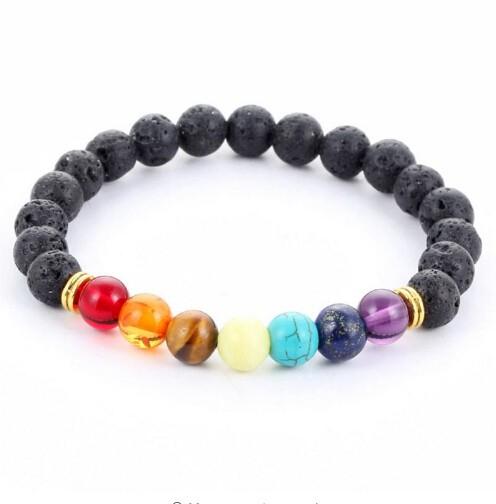 Mens Bracelets Black Lava 7 Chakra Healing Balance Beads Bracelet For  Women  Reiki Prayer Stones gold black one size