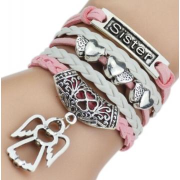 IFeel 7 Colors Leather Bracelets & Bangles Silver Owl Tree Love Bracelets for Women Men Jewelry photo1 one size