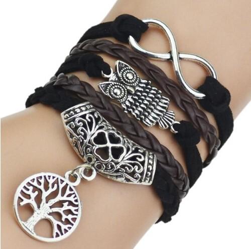 IFeel 7 Colors Leather Bracelets & Bangles Silver Owl Tree Love Bracelets for Women Men Jewelry photo 7 one size