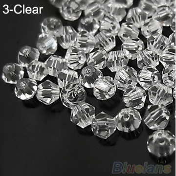 IFeel Jewellery 30pcs loose glass crystal bicone spacer beads 4mm Clear Black Green Blue  pick Color Clear 4mm
