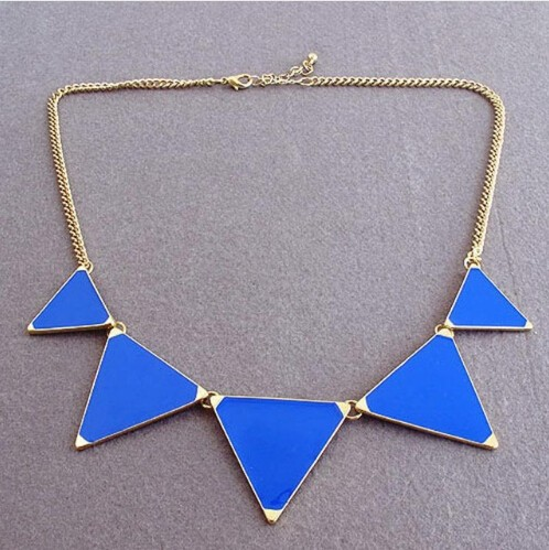 Hot geometrical Triangle Necklace Fashion choker necklace Jewelry for women vintage accessories blue 30cm