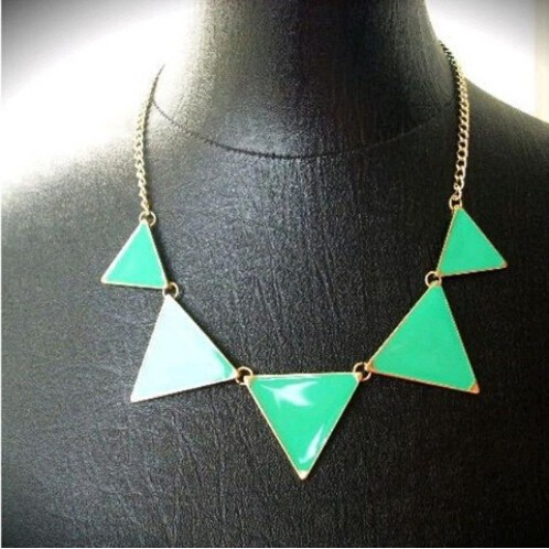 Hot geometrical Triangle Necklace Fashion choker necklace Jewelry for women vintage accessories green 30cm