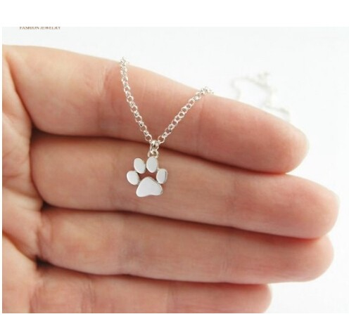 Chokers Necklace Tassut Cat and Dog Paw Print Animal Jewelry Women Pendant Cute Delicate Statement silver one size