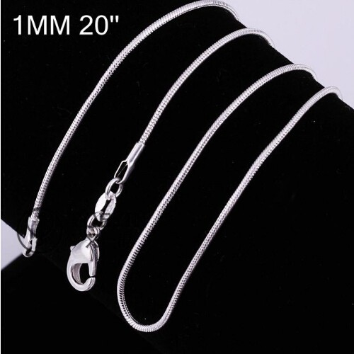 """Hot 1MM Thin Top quality 925 stamped silver plated Snake Chain Jewelry Findings 16""""18""""20""""22""""24"""" 20 inchs one size"""