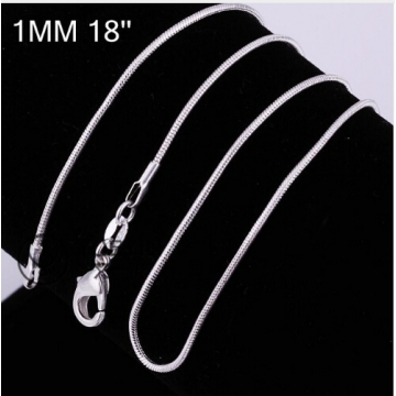 """Hot 1MM Thin Top quality 925 stamped silver plated Snake Chain Jewelry Findings 16""""18""""20""""22""""24"""" 18 inchs one size"""