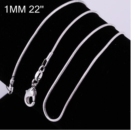 """Hot 1MM Thin Top quality 925 stamped silver plated Snake Chain Jewelry Findings 16""""18""""20""""22""""24"""" 22 inchs one size"""