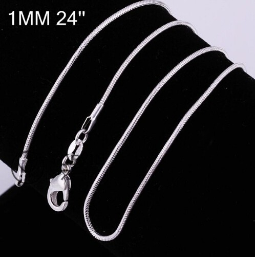 "Hot 1MM Thin Top quality 925 stamped silver plated Snake Chain Jewelry Findings 16""18""20""22""24"" 24 inchs one size"