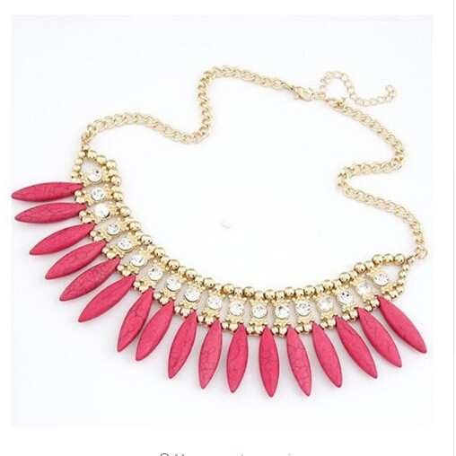 IFeel Fashion Women Crystal Pendant Chain Choker Chunky Statement Bib Necklace BOHO red one size