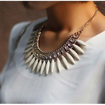 IFeel Fashion Women Crystal Pendant Chain Choker Chunky Statement Bib Necklace BOHO white one size