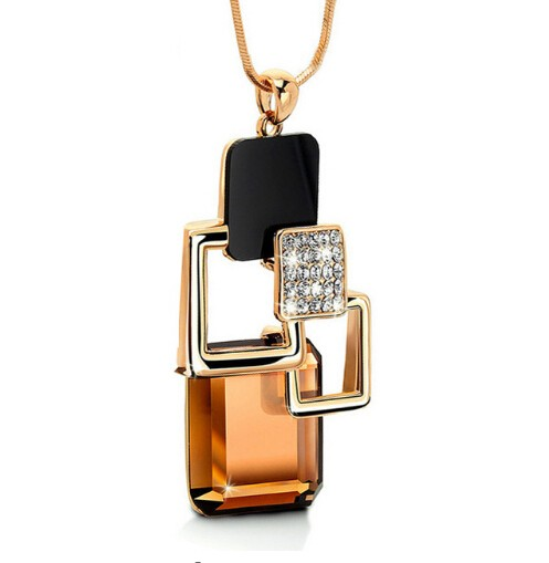 New Golden Hollow Geometric Big Crystal Stone Pendant Necklace Fine Jewelry for women personality photo color 3 60cm+5cm
