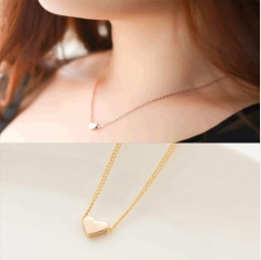 Trendy Tiny Heart Short Pendant Necklace Women Plated Chain Lover Lady Girl Gifts Bijoux Jewelry gold 40cm