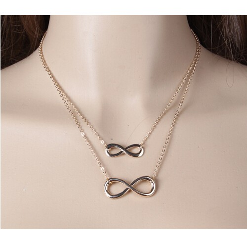 IFeel Plated Women Girl Fashion Jewelry Double Infinity Pendant Necklace Wedding Event Necklaces gold one size