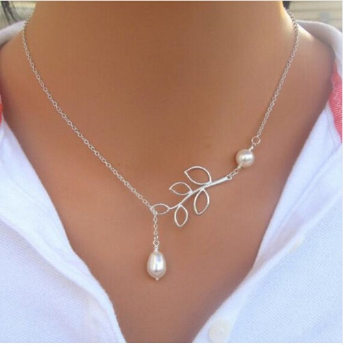 IFeel Jewellery Leaves simulated pearl Short Clavicle Chain For Women Popular Plated Chain Necklace photo color 1 one size