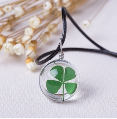 Crystal glass Ball Clover Strip Leather Chain Pendant Necklaces Women Lucky Wish Locket Jewellery photo color 1 one size