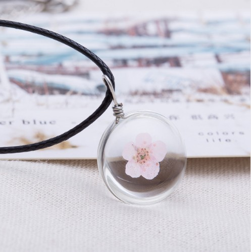Crystal glass Ball Clover Strip Leather Chain Pendant Necklaces Women Lucky Wish Locket Jewellery photo color 2 one size