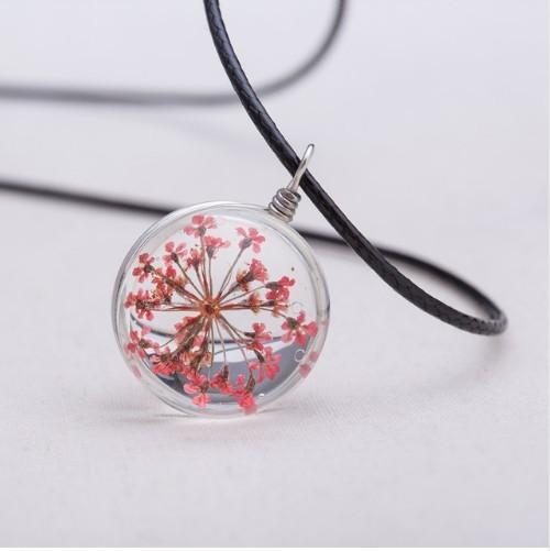 Crystal glass Ball Clover Strip Leather Chain Pendant Necklaces Women Lucky Wish Locket Jewellery photo color 3 one size