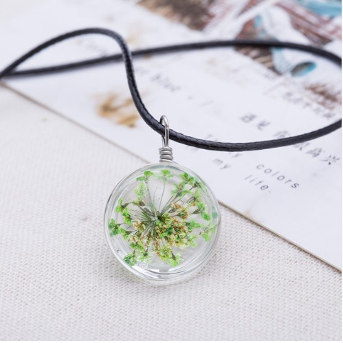 Crystal glass Ball Clover Strip Leather Chain Pendant Necklaces Women Lucky Wish Locket Jewellery photo color 6 one size